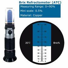 0-90% Brix Refractometer ATC 0.5% Resolution | Portable holster | Copper materia