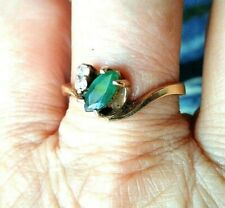 HOLIDAY SALE VINTAGE RING 14 KT Gold  EMERALD Marquise & diamond Size 7 NWOT