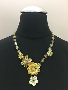 Butler And Wilson Yellow Glass Floral Bead Necklace Cute