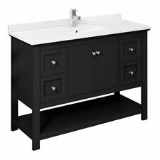 """Fresca Manchester 48"""" Traditional Wood Bathroom Cabinet with Top/Sink in Black"""