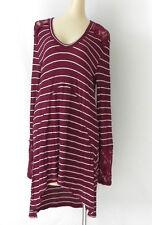 Bella Ella Tunic Hi-Low Extra Long Sleeve Lace Trim Striped Size XL