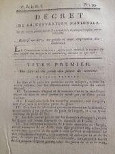 Franc or 1794 Monnaie Révolution Gendarme Luneville Tabac Décret Pièces