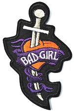 Bad Girl Dagger in Heart  Quality Iron On Embroidered Patch Biker Heart Breaker