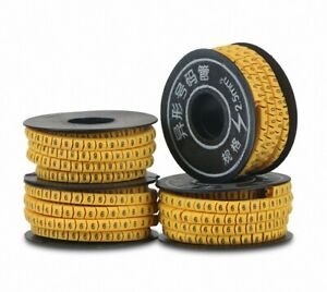 10 Rolls Yellow Flexible PVC Number 0-9 Print 2.5mm2 Wire Cable Markers