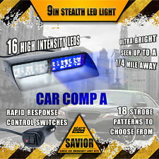 16 LED Emergency Dash Car Vehicle Windshield Warning Flash Strobe White Blue (A)