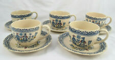 5 Cups & Saucers Hearts & Flowers Johnson Bros Staffordshire England Old Granite