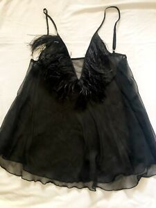 "Sheer Feather Boa Trim Babydoll Slip Adjustable Straps 31""-35"": Black L or XL"