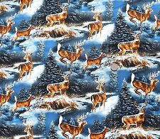 Wild Wings Winter Deer in snow fabric fq 50x56 cm 100% Cotton Springs 37130-108