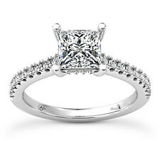 Solitaire Pave 1.00 Carat D/VS2 Princess Cut Diamond Engagement Ring White Gold
