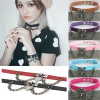 Punk Gothic Leather Choker Necklace Collar Heart Chain Pendant Rivet Buckle Lady