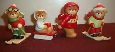 4 Enesco 1983 Lucy And Me Winter Playtime Bears.Taiwan W/Paper Label