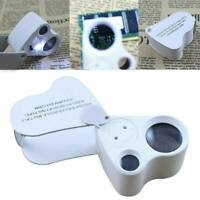 Pocket 30X 60X Glass Magnifier Chrome Magnifying Eye Jewellers Loupe With LED