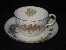 Minton China, MARLOW GOLD, H-5017, Gold Flowers Scalloped, Cup & Saucer Set