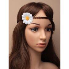 NEW White daisy flower on brown imitation hair headband bandeaux fashion