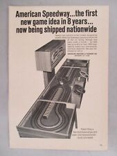"""American Speedway"" Slot Car Racing PRINT AD -1967 ~arcade game;American Machine"