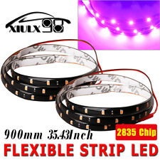 2 x Flexible Light 90cm 2835 High Power LED Car Lighting Strip Waterproof Purple