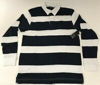 Men's Long Sleeve Stripe Rugby Polo Shirt Burnside CHOOSE A SIZE Navy White