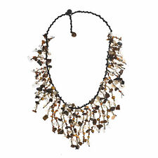 Tiger's Eye and Cultured FW Pearl Golden Brown Waterfall Cluster Necklace
