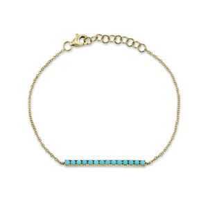 Turquoise Bar Bracelet 14K Yellow Gold Cabochon Round Cut Adjustable 0.53CT