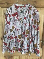 Ladies Womans Matalan Papaya Red White Pink Floral Stripe Shirt Top Size 16