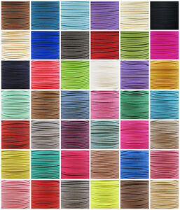 3mm FAUX SUEDE FLAT LEATHER CORD '45 COLOURS' JEWELLERY MAKING  STRINGING CRAFT