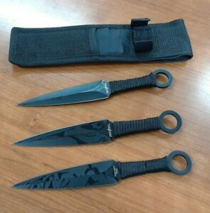 """Throwing Knives 6"""" with & Sheath Perfect Point Set of 3 Black wrapped handle new"""