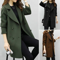 Winter Ladies Warm Trench Woolen Parka Long Slim Coat Outwear Long Lapel Jacket