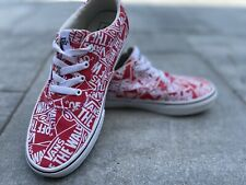 Vans Authentic Canvas Sneakers for Unisex Kids in Stylish Wall Logo Print size 4