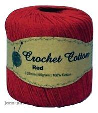3 X 50g Crochet & Knitting Cotton Yarn 3-4ply Hand or Machine Wash - Red