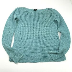 Eileen Fisher Sweater Green Long Sleeve Open Knit Casual Pullover Womens Small