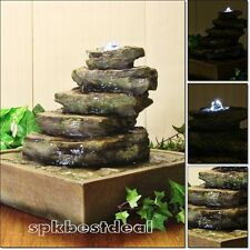 Water Garden Natural Cascading Tabletop Fountain Stone Waterfall LED Lights Home