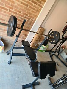 Weight Bench Press Adjustable Incline, Dumbell Curl & 7' Olympic bar & weights.