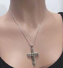 """Sterling Silver Clear Gemstone Cross Pendant Necklace 18"""""""