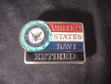 USN United States Navy Retired Belt Buckle Red White Blue Made In The USA