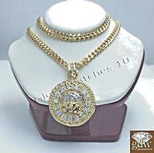 "Real 10k Yellow Gold Medusa Head Charm & 30""  Cuban Chain Necklace Men Women"