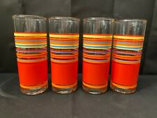 """Set of 4 ~ Libbey Orange, Red Yellow Stripes Glass Tumblers ~ 6 5/8"""" Tall"""