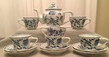 13 Piece Blue Danube Tea & Coffee Service Set: Teapot, onion cups & saucers