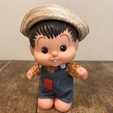 """Turma Da Monica 9"""" Plastic Body Doll Comic Brazil Multibrink Overalls Farmer"""