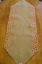"""Handmade Burlap Table Runner - Natural Jute Burlap W/ RED Dot Border - 42"""" X 14"""""""
