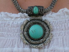 NECKLACE SNAKE TURQUOISE SILVER SILVER ETHNIC HIPPIES GIPSY VINTAGE BOHO