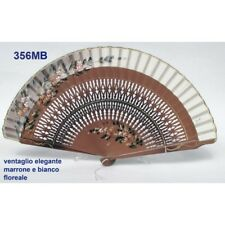 Hand fan in wood brown white cotton with designs floral patterns. Suitable pe