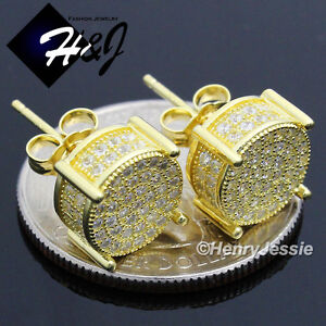 MEN 925 STERLING SILVER 10MM ICY DIAMOND BLING GOLD ROUND STUD EARRING*GE82