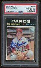 TED SIMMONS Signed 1971 Topps ROOKIE Card #117 - PSA Slabbed HOF Auto 10 #888732
