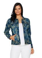 Women with Control Size Small My Wonder Denim Floral Jacquard Jacket Indigo Blue