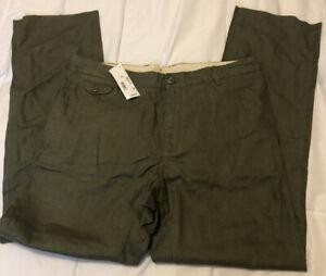 New NWT Lacoste Men Green Linen Chino Pants 36 X 32