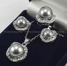 Silver Gray Shell Pearl Round Beads Earrings / Ring / Necklace Pendant Set AAA+