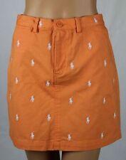 Ralph Lauren Sport Orange White Pony Skirt NWT 8