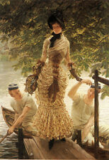 Oil painting Joseph Tissot - Young lady On the Thames & Boatman landscape 36""