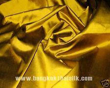 "Gold 100% Pure Silk Taffeta Fabric 40""Wide sold by the yard Dress Drape Craft"