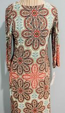 London Times Wear to Work Multi-Color Paisley Print Shift Dress Size 6
